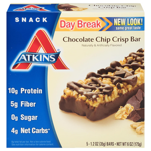 Atkins - Day Break Bars - Chocolate Chip Crisp - 5 Bars