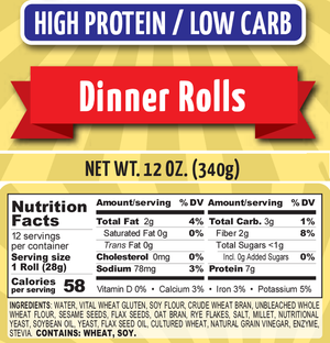Chompies - Low Carb High Protein - Dinner Rolls - 12 oz bag