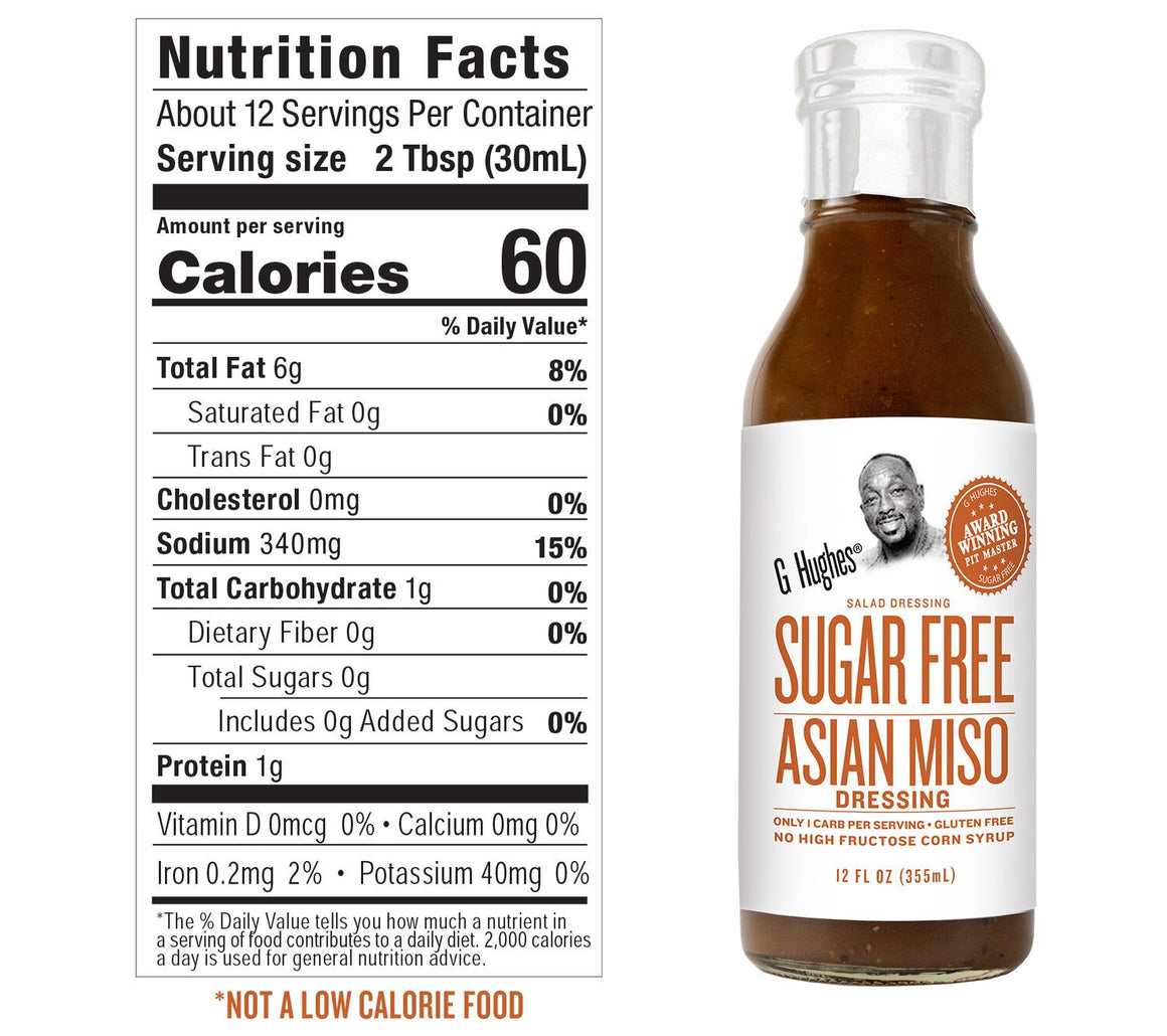 G Hughes Salad Dressing - Sugar Free Asian Miso - 12 oz