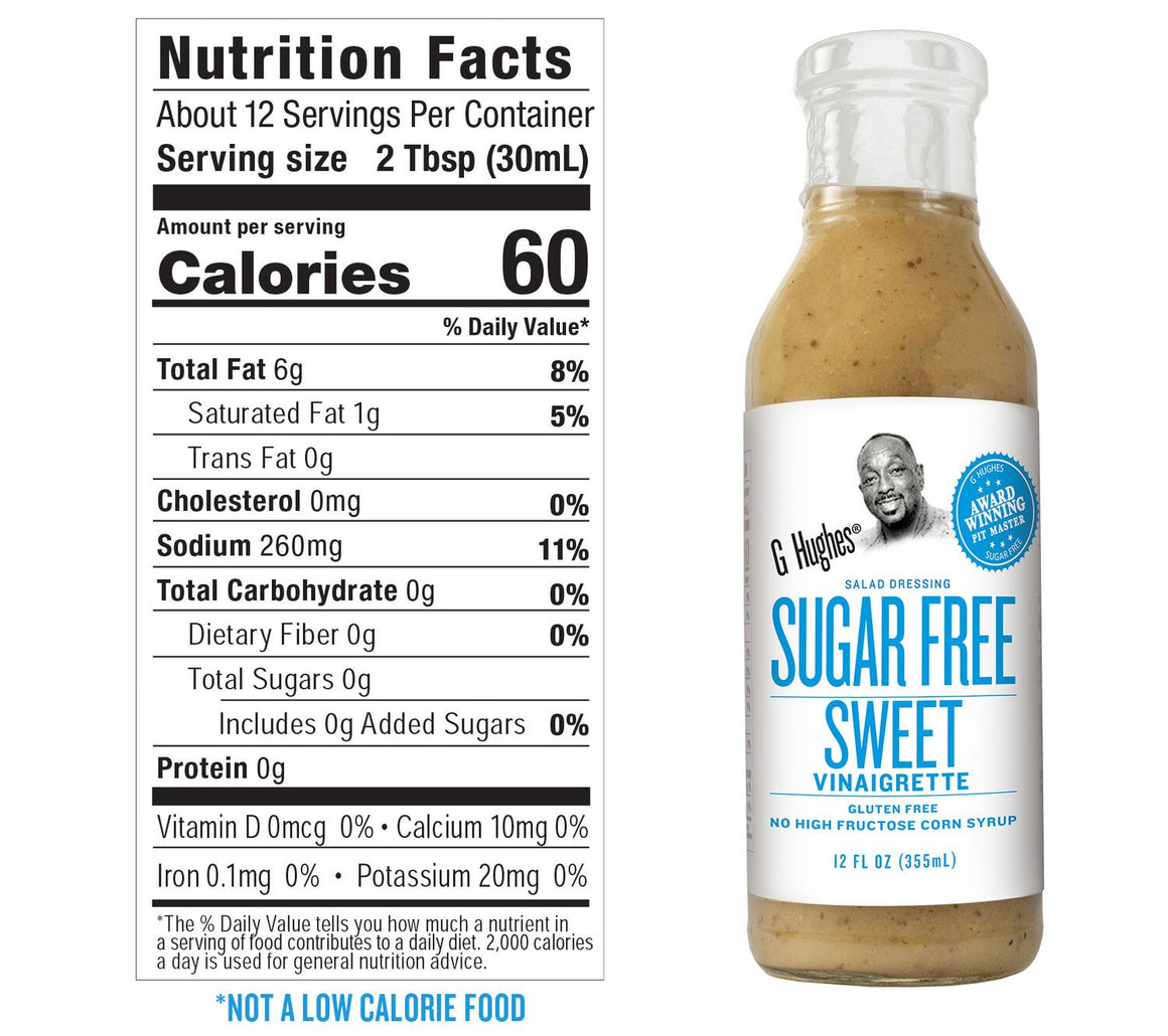 G Hughes Salad Dressing - Sugar Free Sweet Vinaigrette - 12 oz