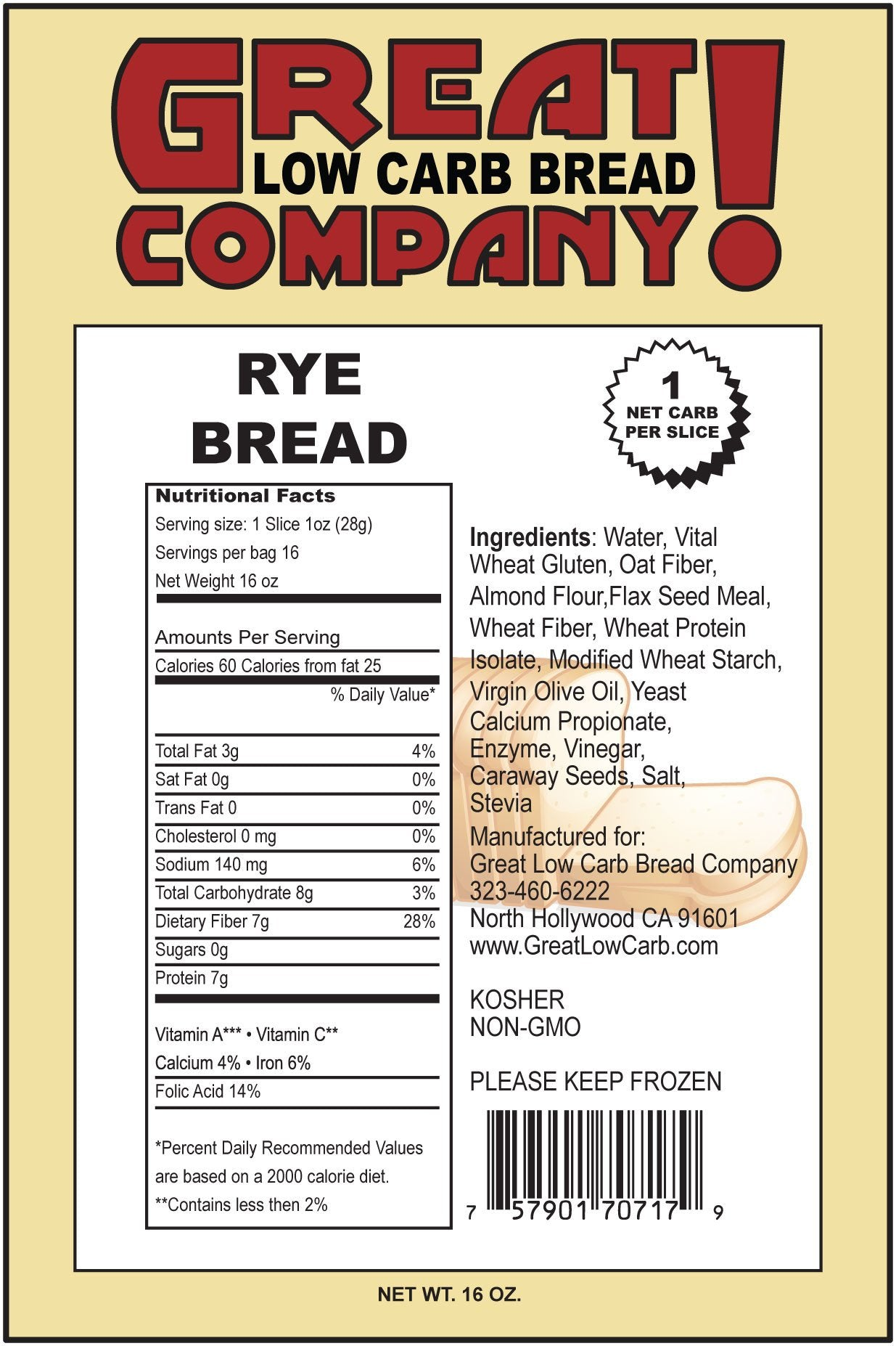 Great Low Carb Bread Company Bread Rye 1 Loaf Low Carb Canada
