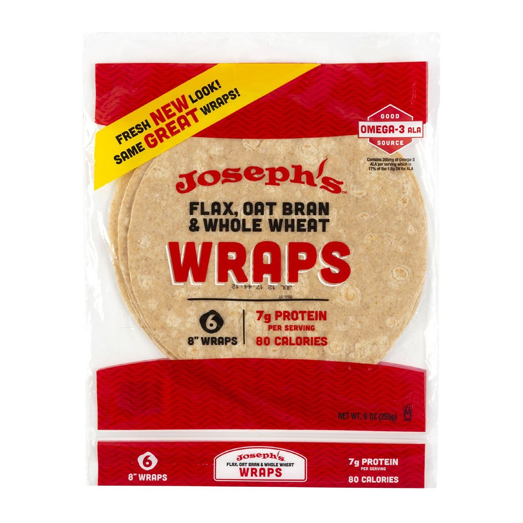 Joseph's Bakery - Flax, Oat Bran and whole wheat Wraps - 6 Wraps