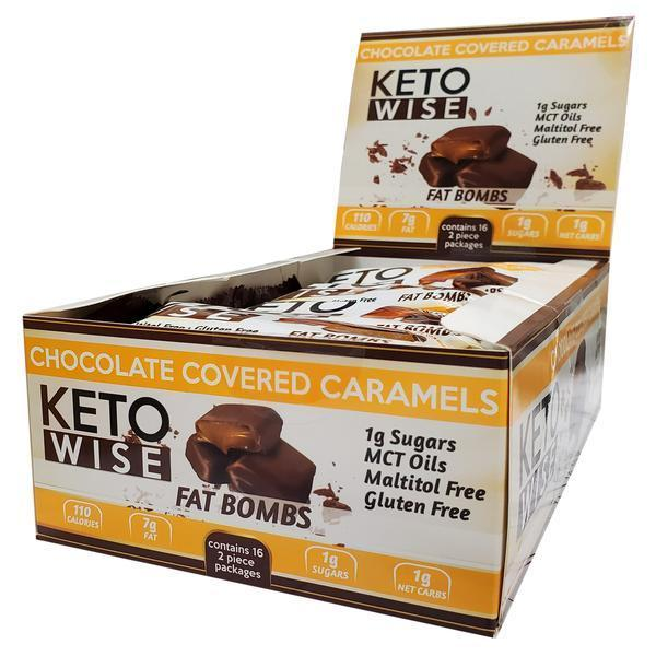 Keto Wise - Keto Fat Bombs - Chocolate Covered Caramels - 1 Bar