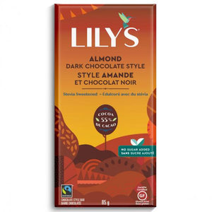 Lily's - Dark Chocolate Bar - Almond - 55% Cocoa - Stevia Sweetened - 3 oz bar