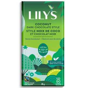 Lily's - Dark Chocolate Bar - Coconut - 55% Cocoa with Stevia Sweetened - 3 oz bar