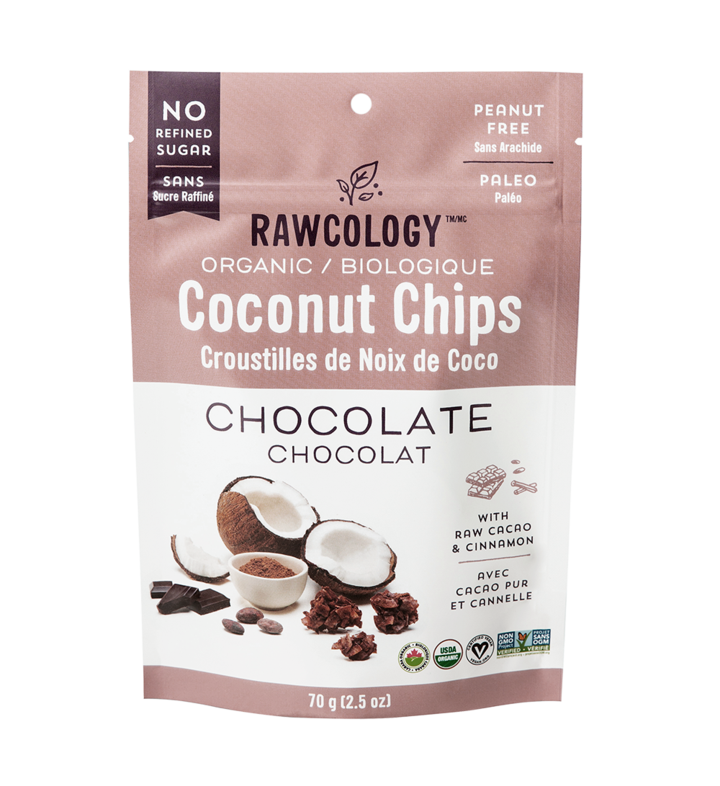 Rawcology - Coconut Chips - Chocolate - 2.5 oz bag