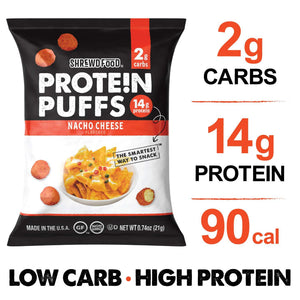 Shrewd Food - Protein Puffs - Nacho Cheese - 0.74 oz bag