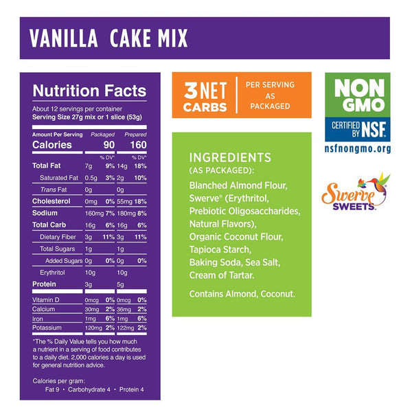 Swerve Sweets Cake Mix Vanilla Low Carb Canada