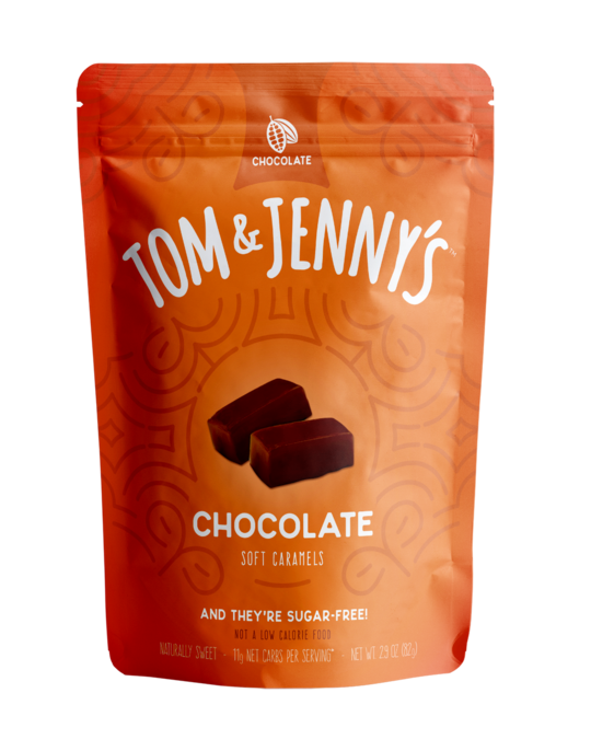 Tom & Jenny's -  Sugar Free Soft Caramels - Chocolate - 2.9 oz bag