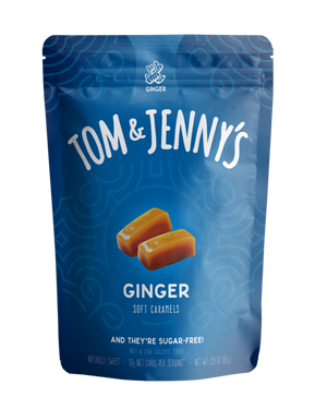 Tom & Jenny's -  Sugar Free Soft Caramels - Ginger - 2.9 oz bag