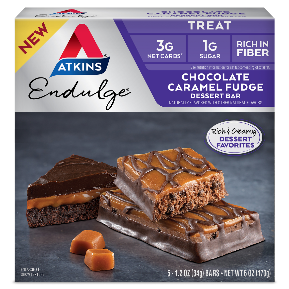 Atkins Endulge Treat - Chocolate Caramel Fudge Dessert Bars - 5 Bars