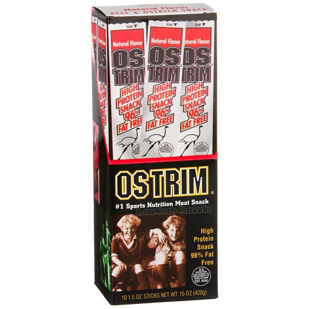 OSTRIM - Beef & Ostrich Snack Sticks - Natural Flavor - 1 Stick - Low Carb Canada