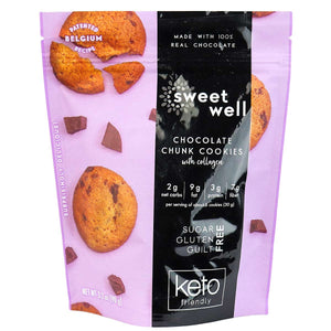 Sweetwell - Keto Friendly Cookies, Chocolate Chunk w/Collagen - 3.2 oz