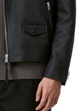 Bloc Leather Biker Jacket