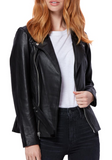 Dita Belted Leather Moto Jacket