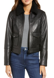 Genuine Shearling Collar Leather Moto Jacket