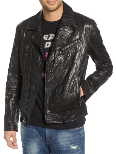 Regular Fit Lambskin Leather Biker Jacket
