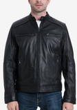 Men's Big & Tall Perforated Moto Leather Jacket