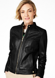 Petite Snap-Neck Leather Moto Jacket