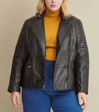 Plus Size Quilted Leather Jacket