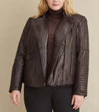 Plus Size Quilted Leather Moto Jacket