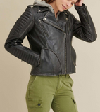 Quilted Shoulder Leather Moto Cycle Jacket