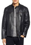 Quilted Shoulder Lambskin Leather Moto Jacket