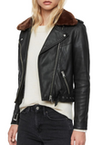Rigby Lux Removable Faux Fur Collar Leather Biker Jacket