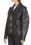 Ring Detail Refurbished Leather Moto Jacket