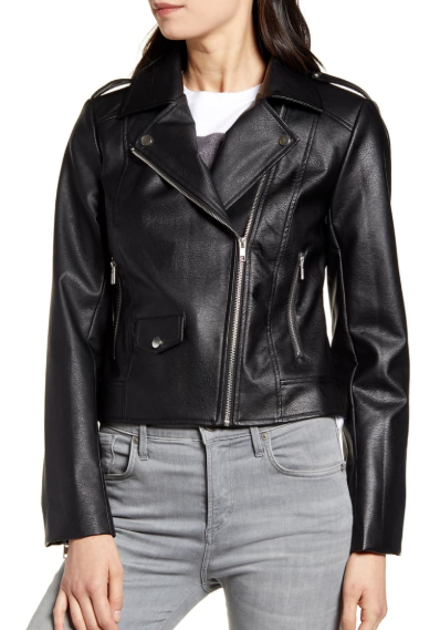 Roxy Faux Leather Moto Jacket