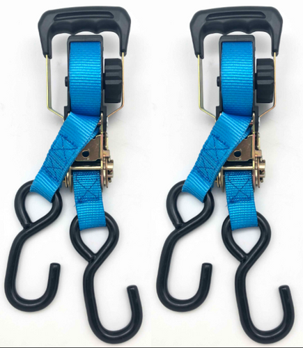 1 in. x 15 ft 2500 LB Self Store Retractable Ratchet Tie Down Strap (2-Pack)