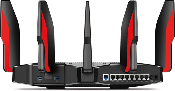 TP-Link AC5400 Tri Band Gaming Router - MU-MIMO, 1.8GHz Quad-Core 64-bit CPU, Game First Priority, Link Aggregation, 16GB Storage, Airtime Fairness, Secured WiFi, Works with Alexa (Archer C5400X)