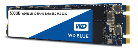 WD Blue 3D NAND 500GB Internal PC SSD - SATA III 6 Gb/s, M.2 2280, Up to 560 MB/s - WDS500G2B0B