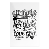 All Things Work Together For Good To Those Who Love God, Romans 8:28 - Black on White Rectangle Sticker