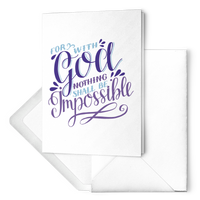 For With God Nothing Shall Be Impossible - Folded Note Card