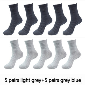 10 Pairs High Quality Bamboo Fiber Men's Socks Business Breathable Deodorant Compression Socks Men Long Big Size EUR 38-46