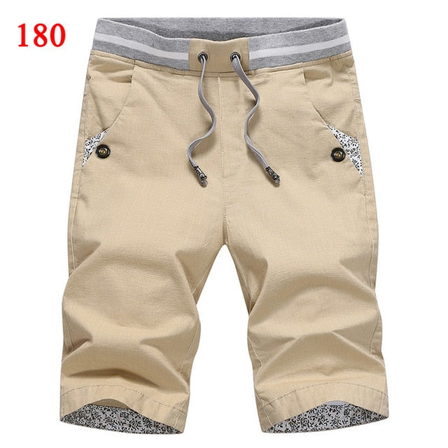 Cotton Fashion Style Boardshort Bermuda Male Drawstring Elastic short