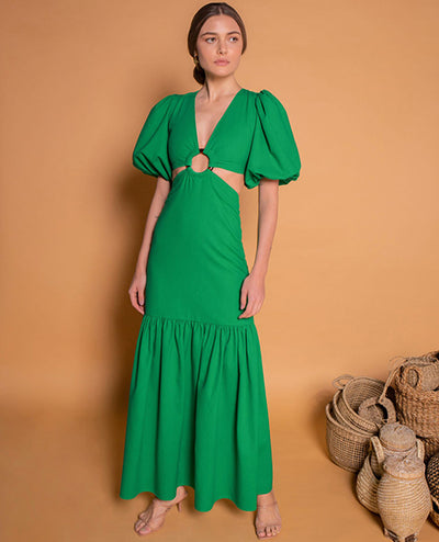 Fendas Vestido Largo Verde - Boho Hunter Europe