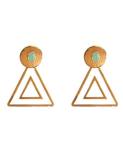 Triangle Pendientes Blanco - Boho Hunter Europe