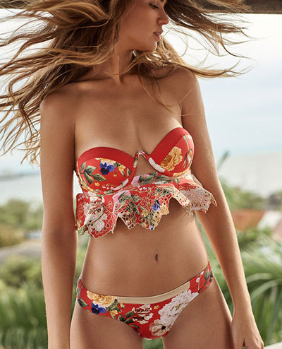 Red Flowers Bikini Top - Boho Hunter Europe