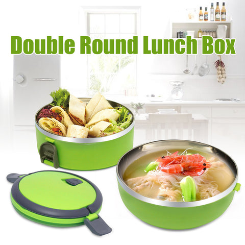 Vibrant Green Vibrant Orange 2 Tiered Thermal Insulated Bento Stainless Steel Lunch Box is filled with food and ready to be put together and head to work or picnic. Text on photo says Double Round Lunch Box.