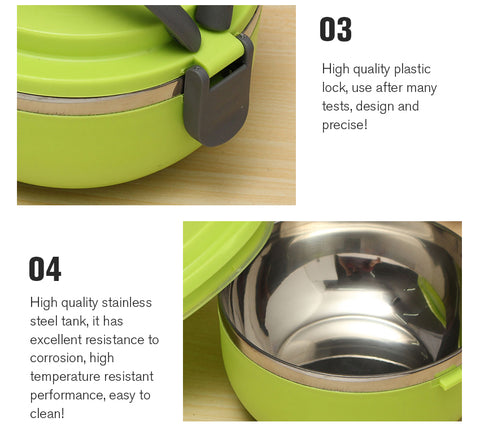 Detail of bowl and lid lock that secures bowls and lid together. Stainless steel interior is corrosion resistant and easy to clean