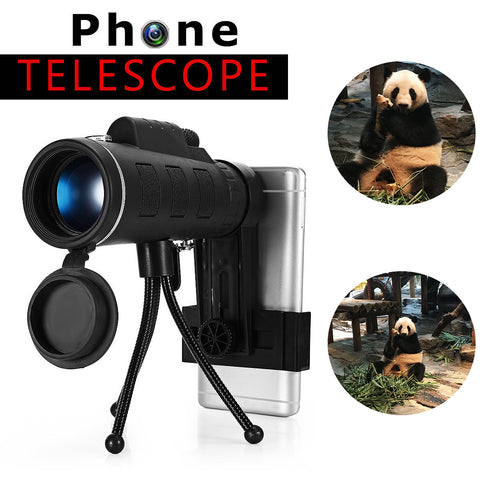 Smartphone attched to monocular lens with detailed photos of pandas to show detail.