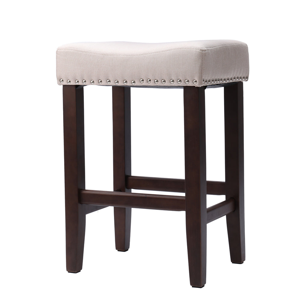Nailhead Wooden Bar Chair Pub-Height Stool