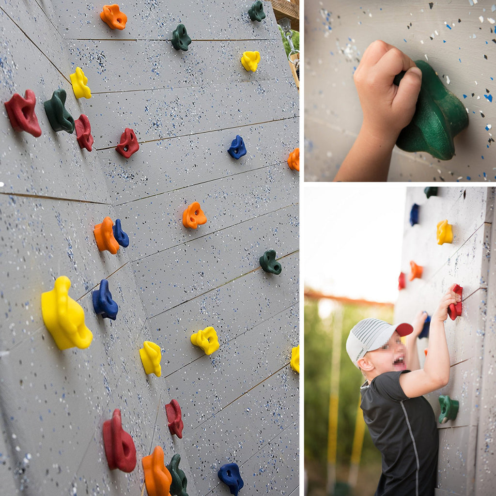10pcs Plastic Colorful Textured Climb Rock Wall Stones Kids Assorted Holds Climbing Ascender