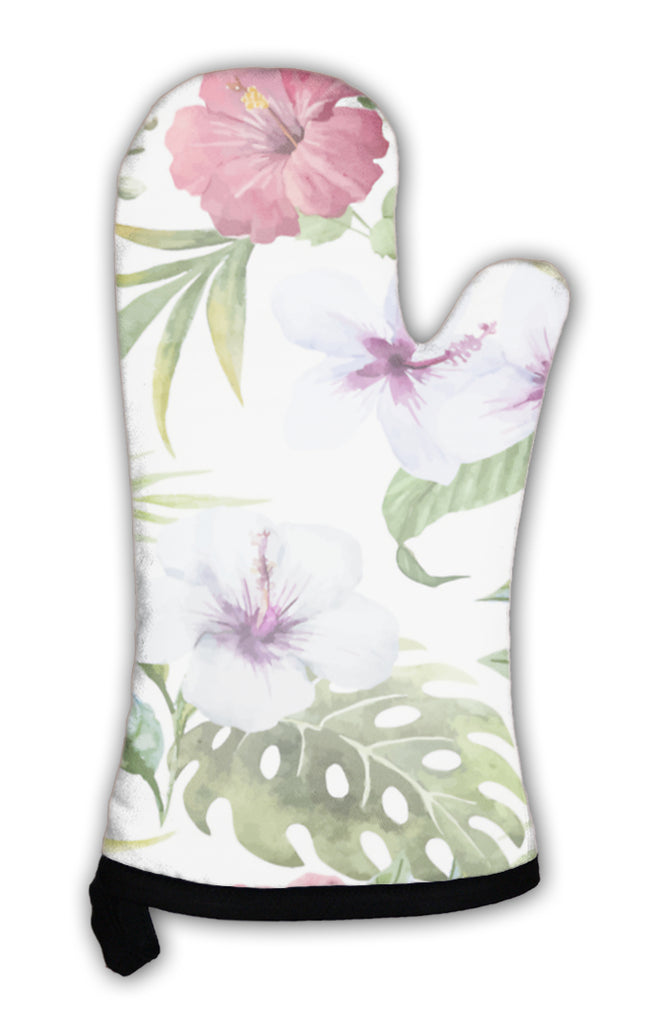 White oven mitt with red and white hibiscus and tropical leaves