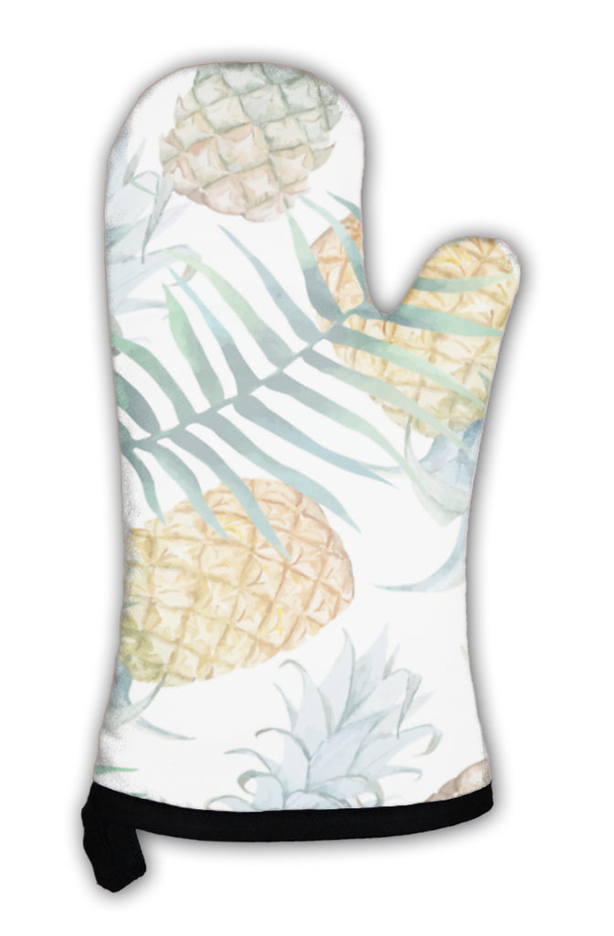 Oven mitt white with palm leaves and pineapple pattern