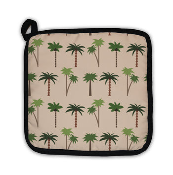 Square potholder tan with green palm tree pattern
