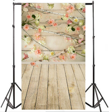 3x5ft Vinyl Wooden Floor Flower Backdrop Photography Studio Props Background