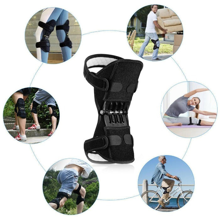 Image has 6 smaller images with a Knee Brace Support with Spring Hinges in the center. Each small circle image is of people wearing the brace support while stretching, bicycling, running, climbing stairs, walking and lifting.